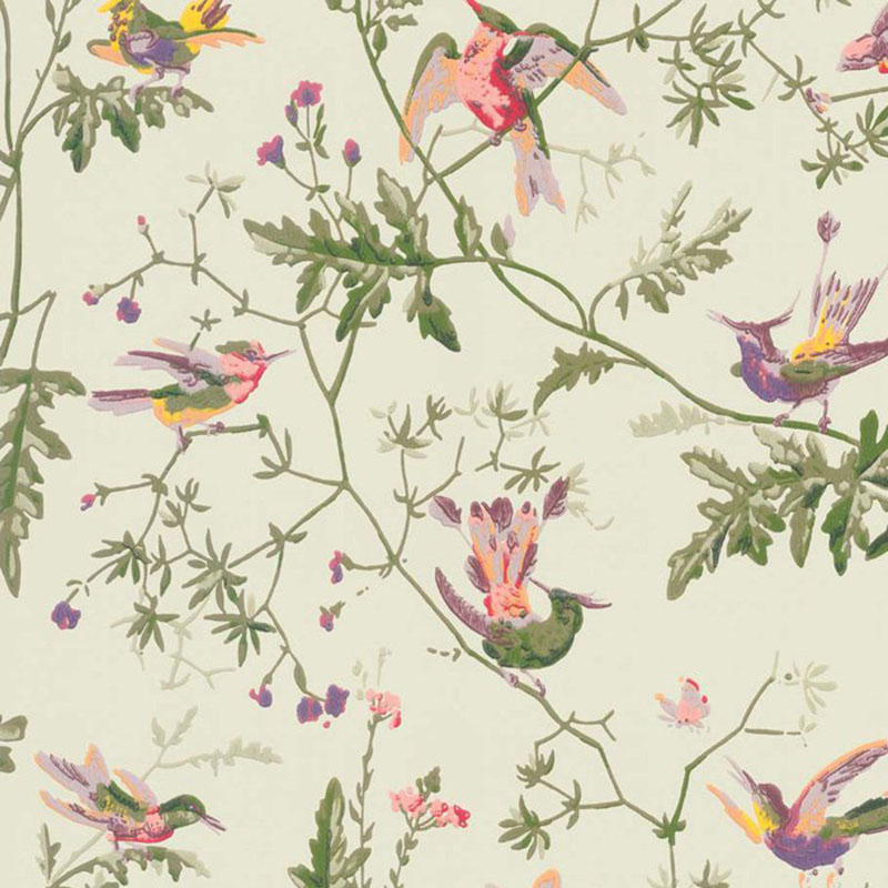 100/14070.CS Hummingbirds - Green Multi-Colour - Cole & Son Wallpaper