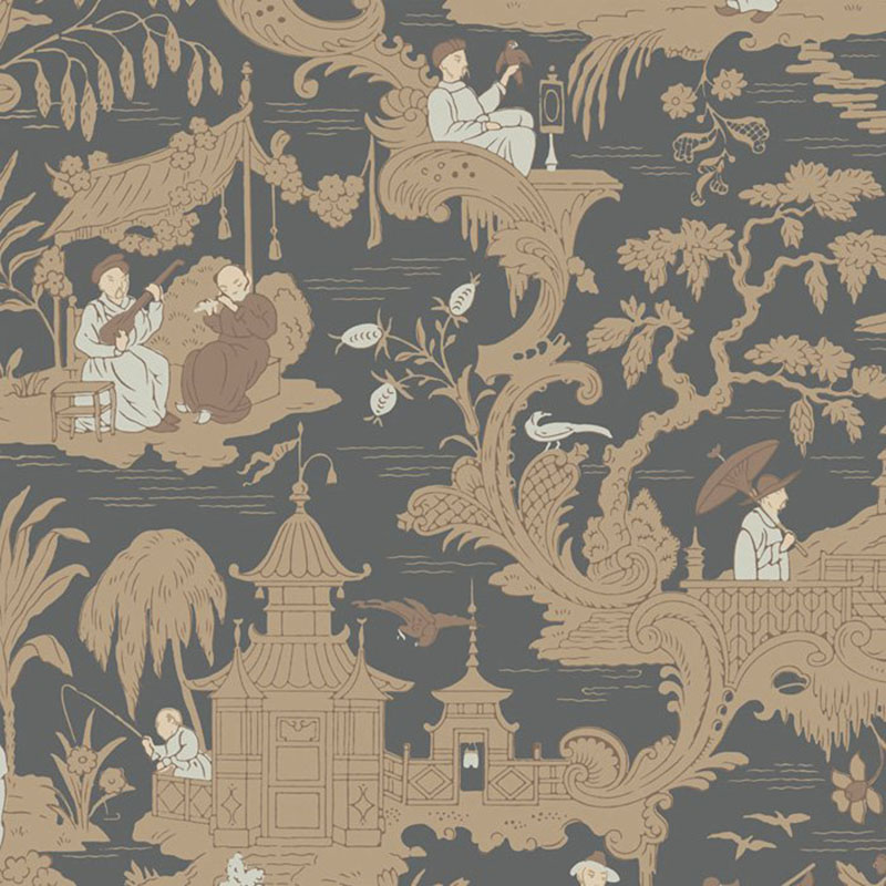 100/8040.CS Chinese Toile - Charcoal - Cole & Son Wallpaper