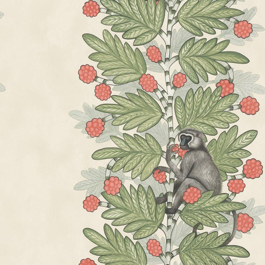 109/11051.CS Acacia - Green & Coral Berries - Cole & Son Wallcovering
