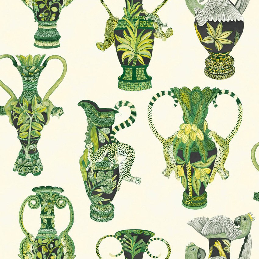 109/12056.CS Khulu Vases - Green & White - Cole & Son Wallcovering