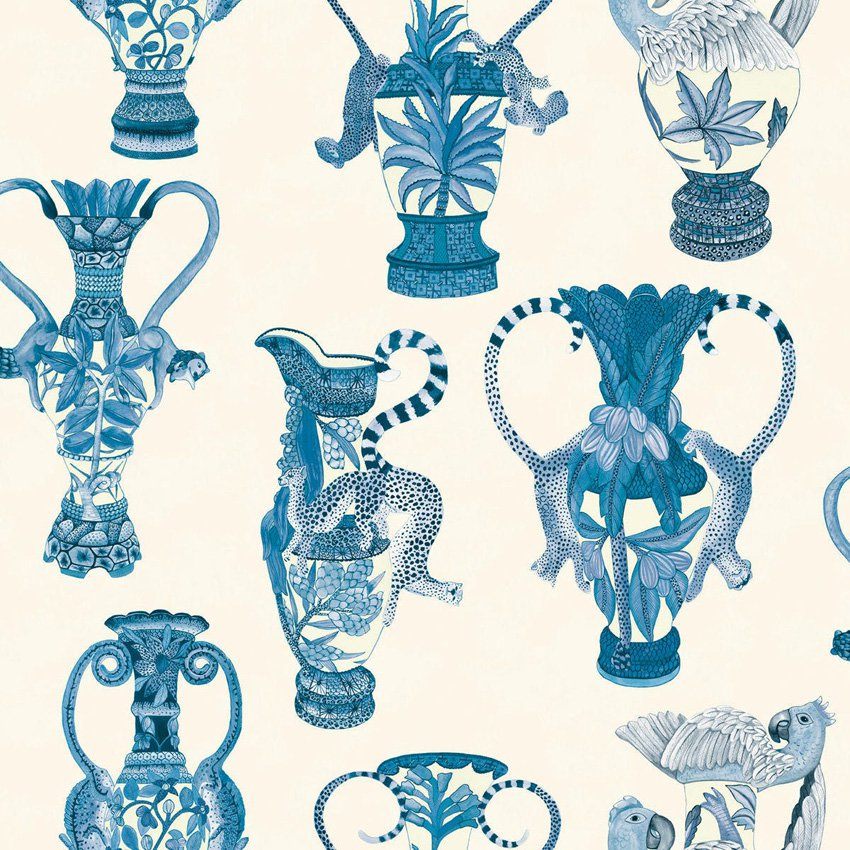 109/12059.CS Khulu Vases - Blue & White - Cole & Son Wallcovering