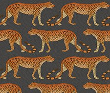 109/2008.CS Leopard Walk – Charcoal & Orange – Cole & Son Wallcovering