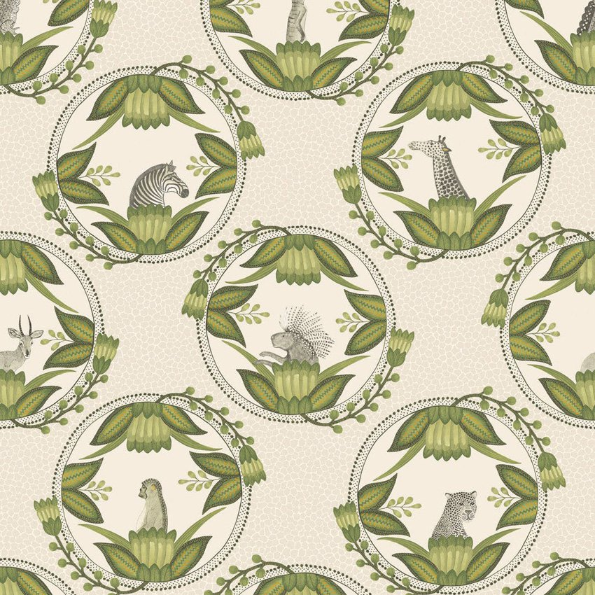 109/9041.CS Ardmore Cameos - Stone & Green - Cole & Son Wallcovering