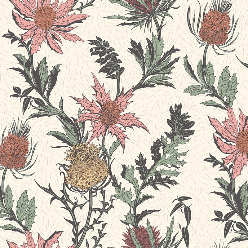 115/14043.CS Thistle - A Pink/Orange/Parch - Cole & Son Wallpaper