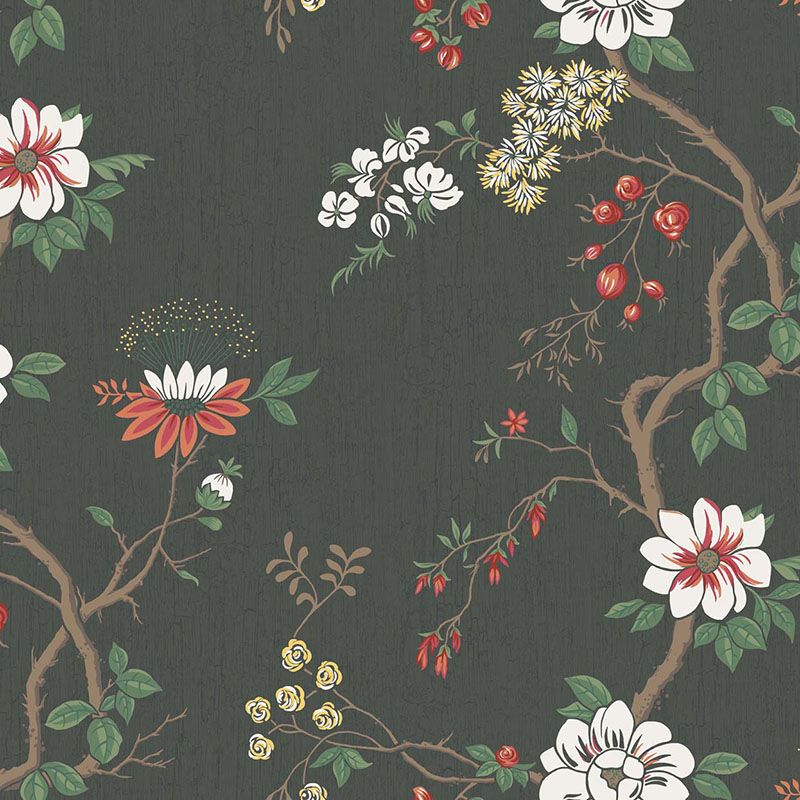 115/8026.CS Camellia - White/Red/Charco - Cole & Son Wallpaper