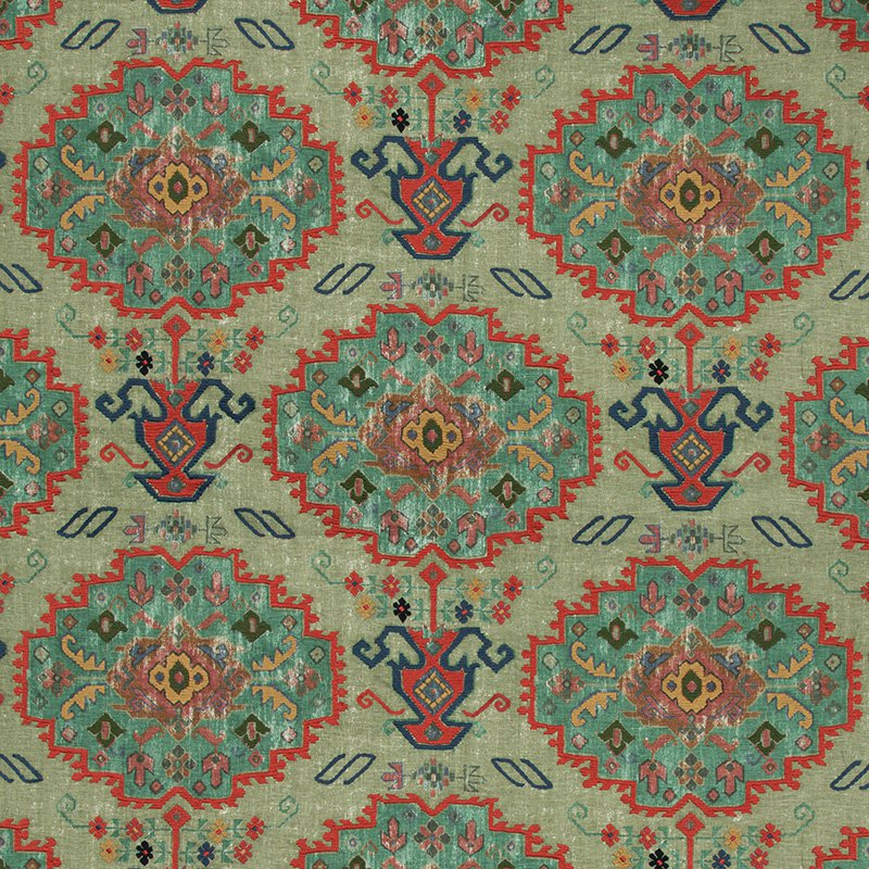 2017150.396 Turkana - Sage/Jewel - Lee Jofa Fabric