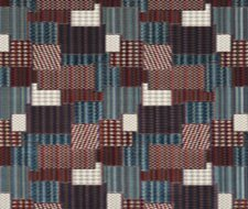 FD747.G103 Bohemian Patchwork – Indigo/Red – Mulberry Home Fabric