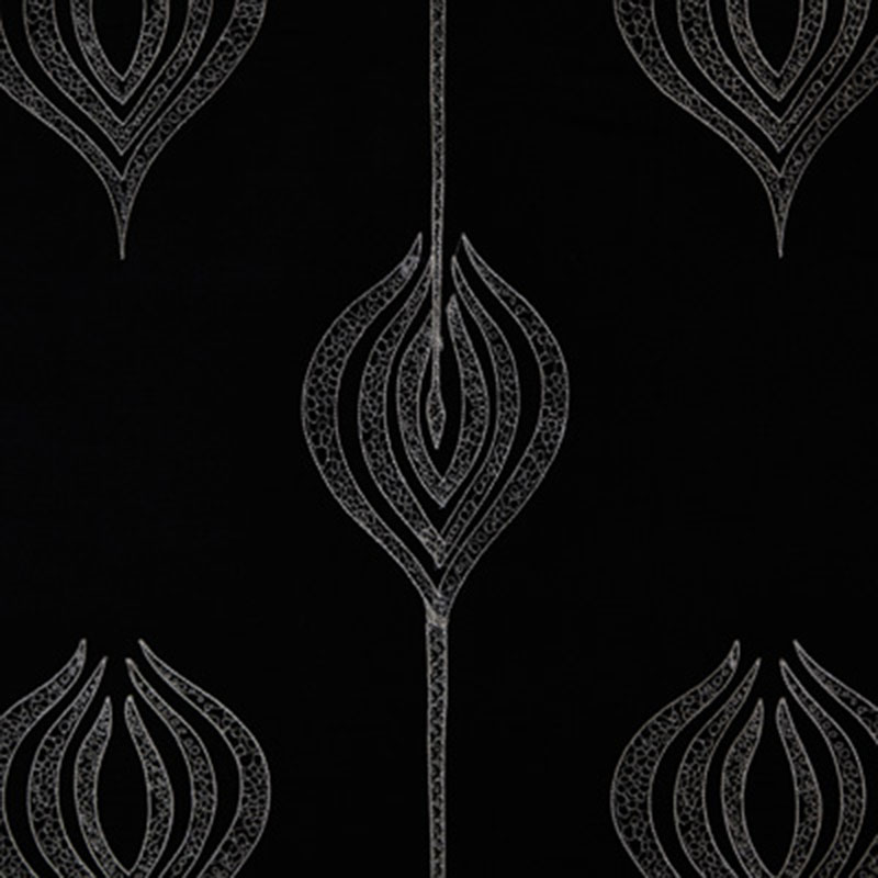 GWF-2928.816 Tulip Embroidery - Black - Groundworks Fabric