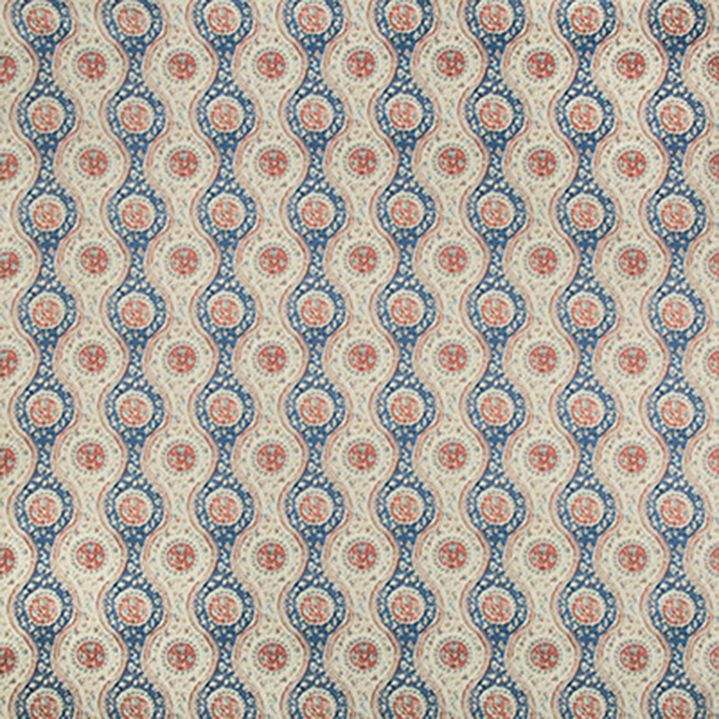 8019129.519.0 Nadari Print - Blue/Red - Brunschwig & Fils Fabric