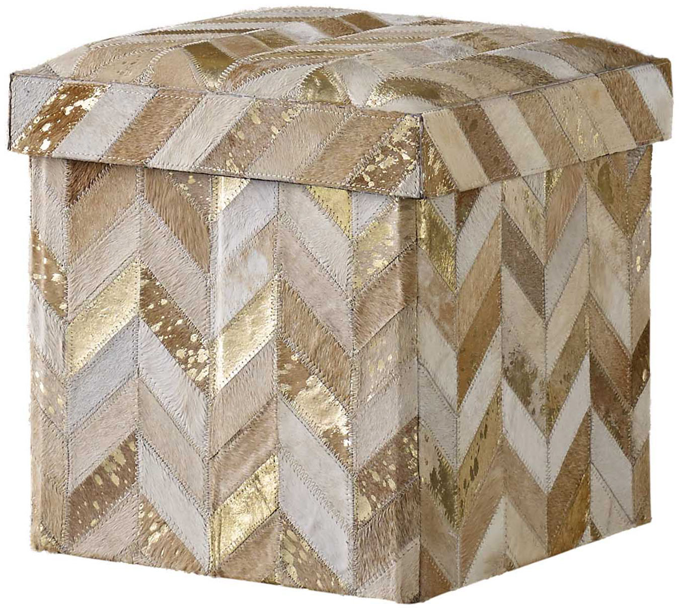 Wondrous Recherche Storage Stool Chevron Beigegold Kravet Ocoug Best Dining Table And Chair Ideas Images Ocougorg