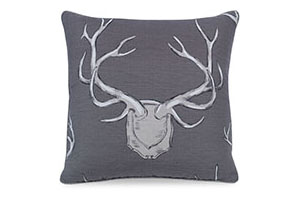 Antlers Pillow, Gray