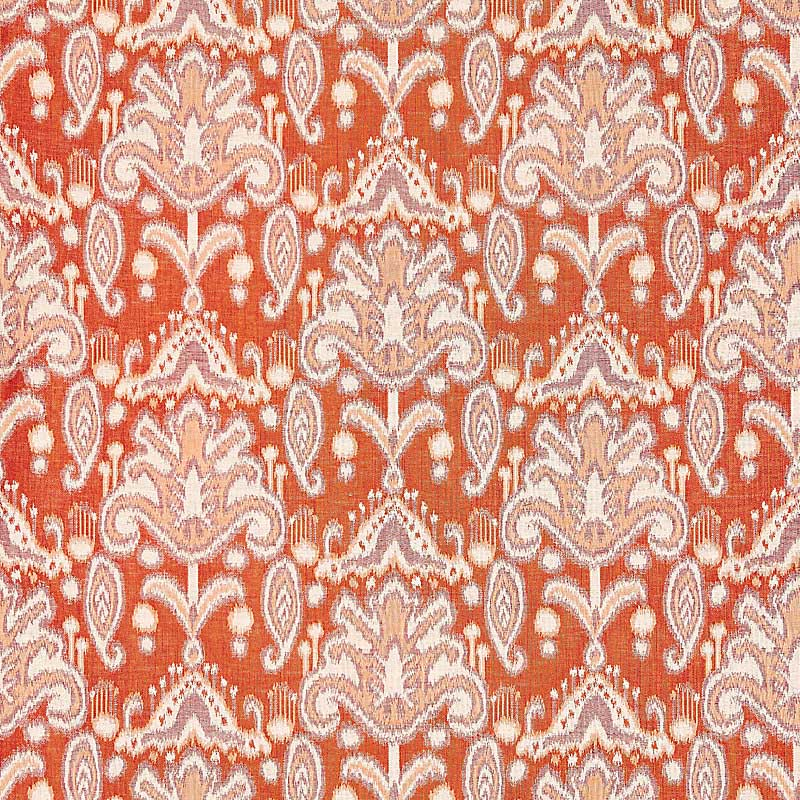 GW 000227210 (27210-002) Kandira Ikat - Papaya - Grey Watkins Fabric