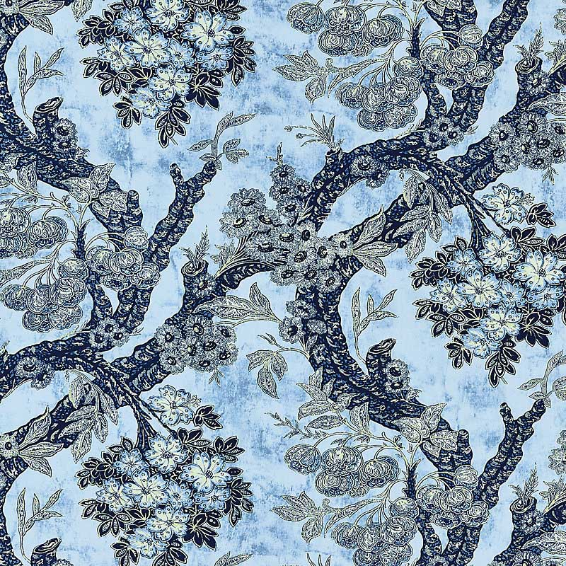 M7 0001SUMM (SUMM-001) Summerhouse Hill - Blues - Old World Weavers Fabric