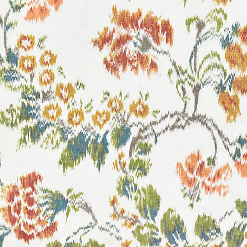 SC 000116611 Kew Gardens Warp Print - Multi On Ivory - Scalamandre Fabric