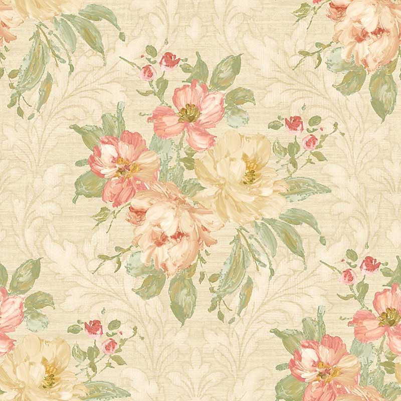 Scalamandre Painted Flowers Damask Pink Wallpaper 40% Off ...