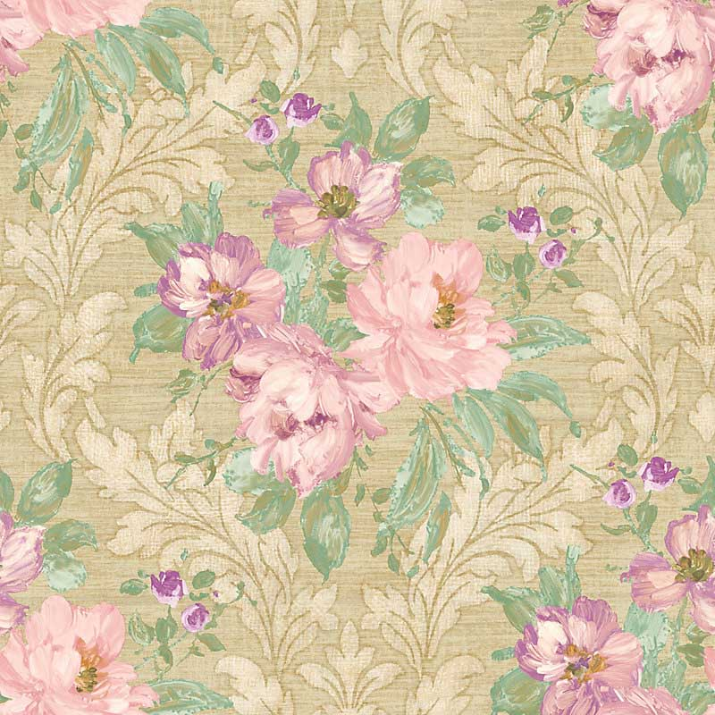 Scalamandre Painted Flowers Damask Pink Gold Wallpaper 40% ...