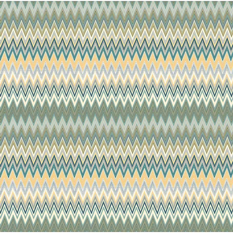 WRK0064ZIZA Zig Zag Multicolore Panel - Teal Gold - Scalamandre Wallpaper