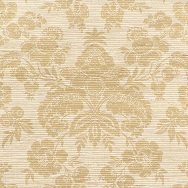 Schumacher Simone Damask Grasscloth Gold Wallpaper 5010121