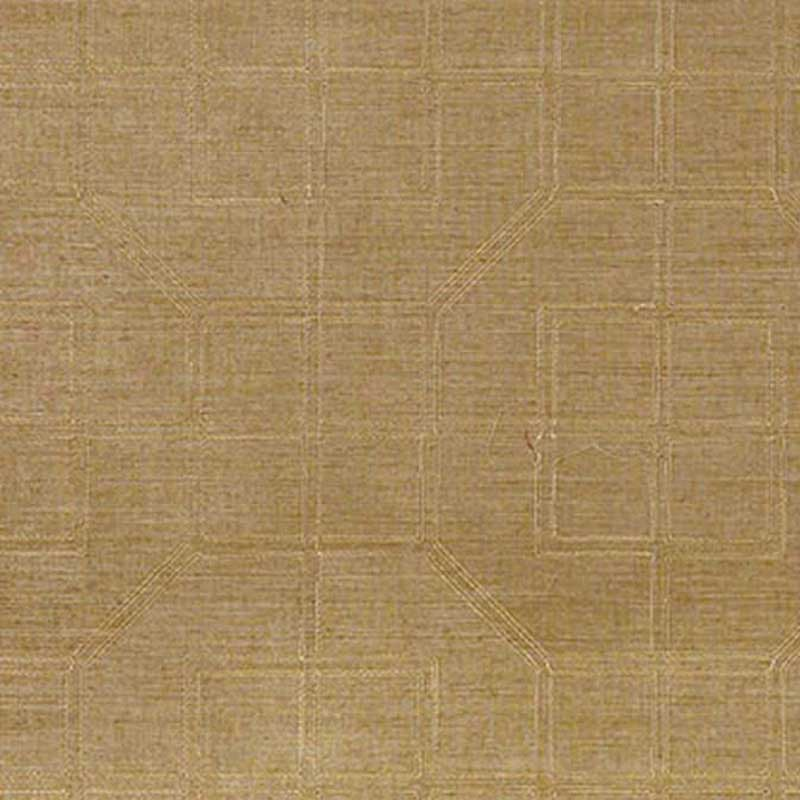 Schumacher Linyi Embroidered Fret Linen Wallpaper 5003553