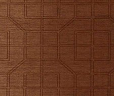 Schumacher Linyi Embroidered Fret Chestnut Wallpaper 5003554