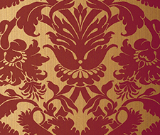 529195 Fiorella Damask – Red on Gold – Schumacher Wallpaper