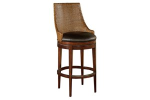 Woven Leather Back Bar Stool
