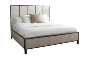 Bed with Faux Shagreen Panels