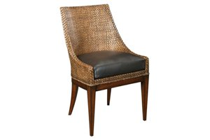 Woven Leather Back Side Chair